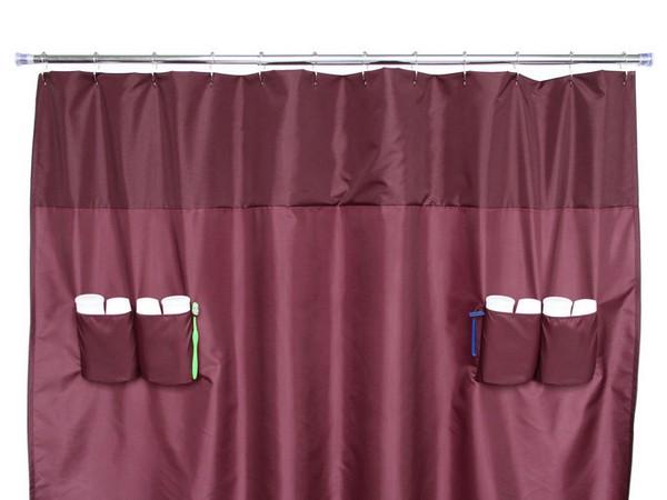 Κουρτίνες μπάνιου με ενσωματωμένους χώρους αποθήκευσης