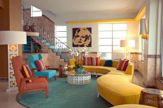 Ονειρικές Ιδέες σχεδιασμού για πολύχρωμα σαλόνια