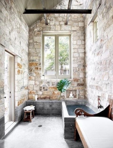 ιδέες σχεδιασμού μπάνιου από φυσική πέτρα
