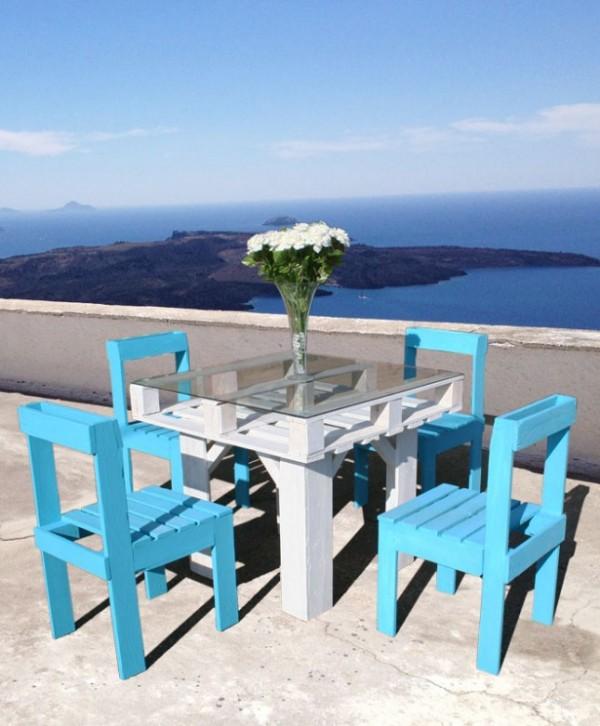 diy παλετοκατασκευή τραπεζάκι  με καρέκλες για τον κήπο