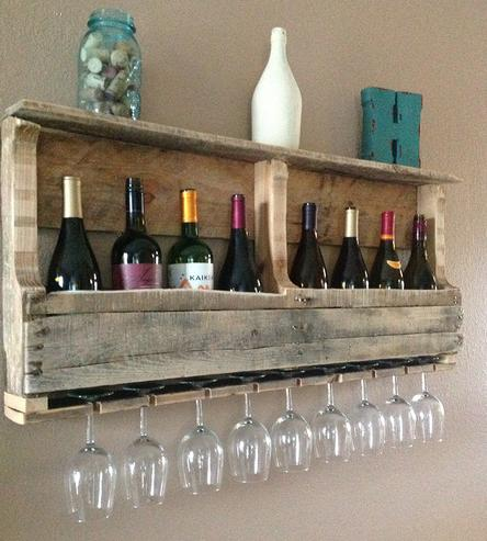 Diy ράφια κρασιών από παλέτες1