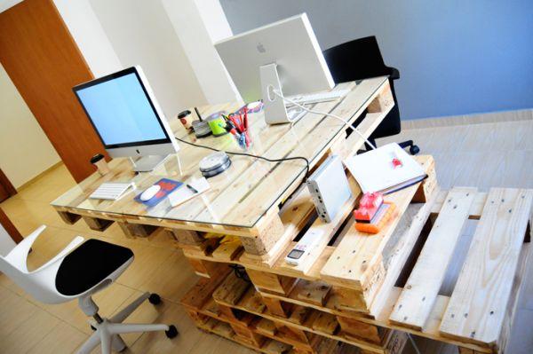 DIY γραφεία από παλέτες15