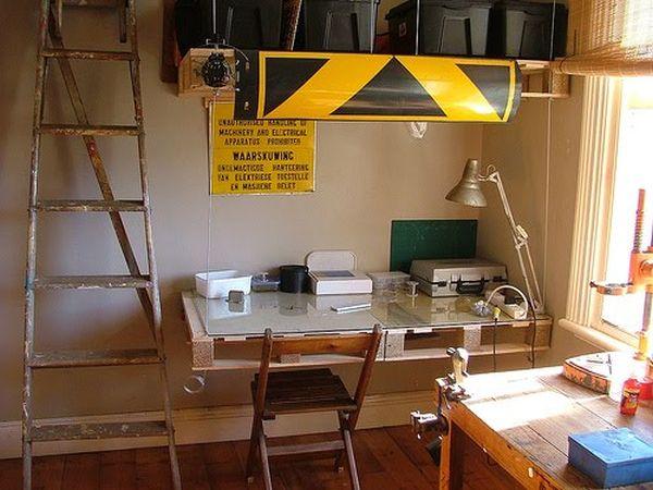 DIY γραφεία από παλέτες4