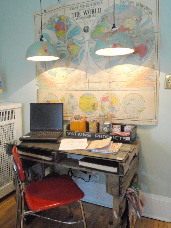 DIY γραφεία από παλέτες5