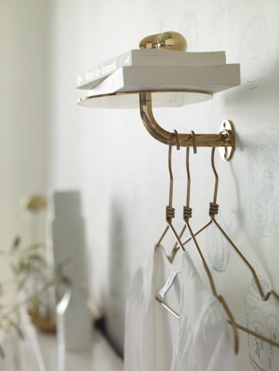 Κομψός Σχεδιασμός Υπνοδωμάτιου με Χρυσό και Λευκό2