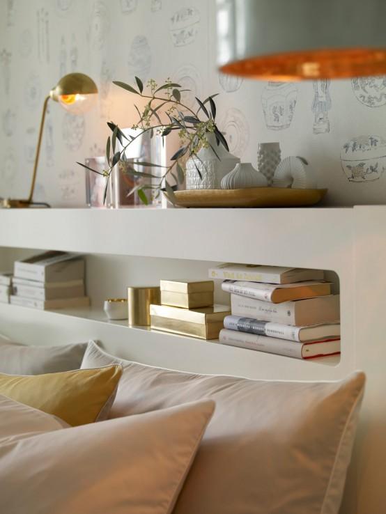 Κομψός Σχεδιασμός Υπνοδωμάτιου με Χρυσό και Λευκό3