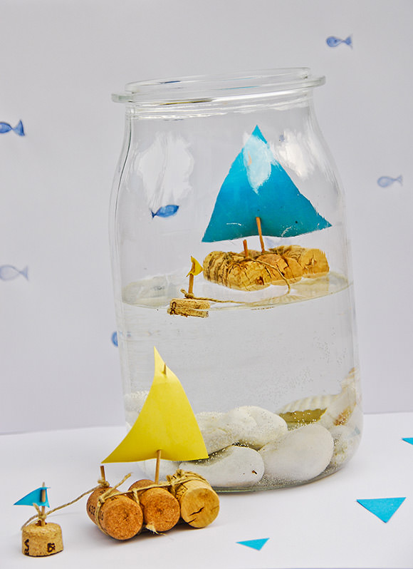 DIY Ιστιοφόρο σε βάζο από Φελλό