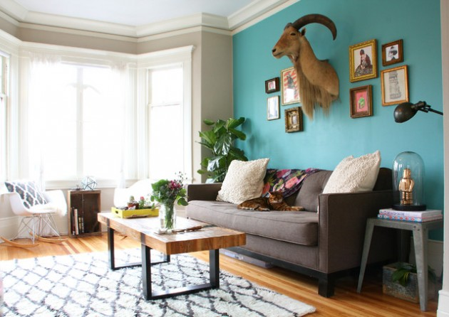 ιδέες  σχεδιασμού για να τονίσετε ένα τοίχο στο σαλόνι σας16