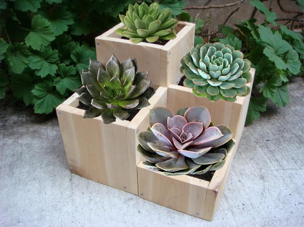 ιδέες με ξύλινες γλάστρες4