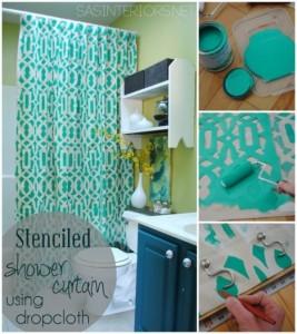 ιδέες με Diy σχέδια stencil - κουρτίνα μπάνιου