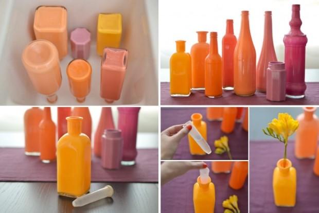 Διακοσμητικά πολύχρωμα βάζα από γυάλινα μπουκάλια