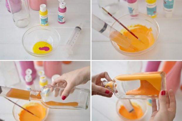 Διακοσμητικά πολύχρωμα βάζα από γυάλινα μπουκάλια6