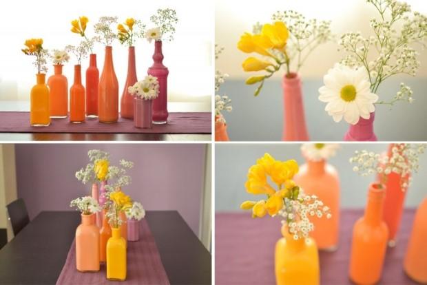 Διακοσμητικά πολύχρωμα βάζα από γυάλινα μπουκάλια7