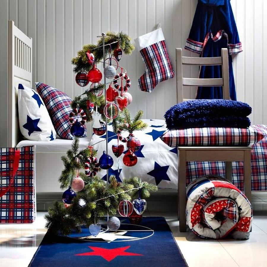 χριστουγεννιάτικη διακόσμηση κρεβατοκάμαρας1