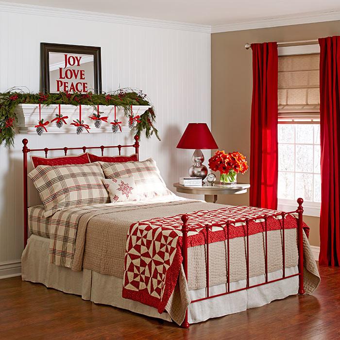 χριστουγεννιάτικη διακόσμηση κρεβατοκάμαρας2