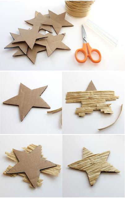 DIY Ρουστίκ Ανάγλυφα Χριστουγεννιάτικα Διακοσμητικά  Αστεράκια1