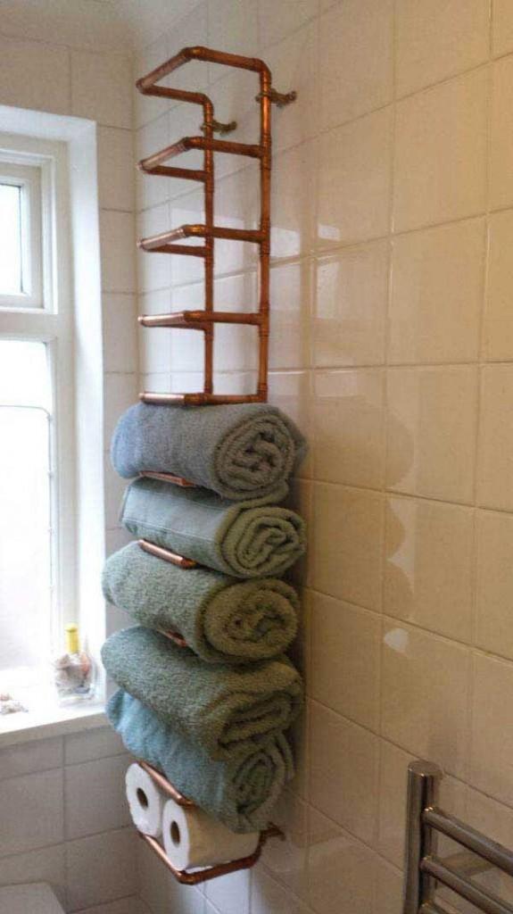 DIY ιδέες οργάνωσης για τις πετσέτες του μπάνιου σας.4