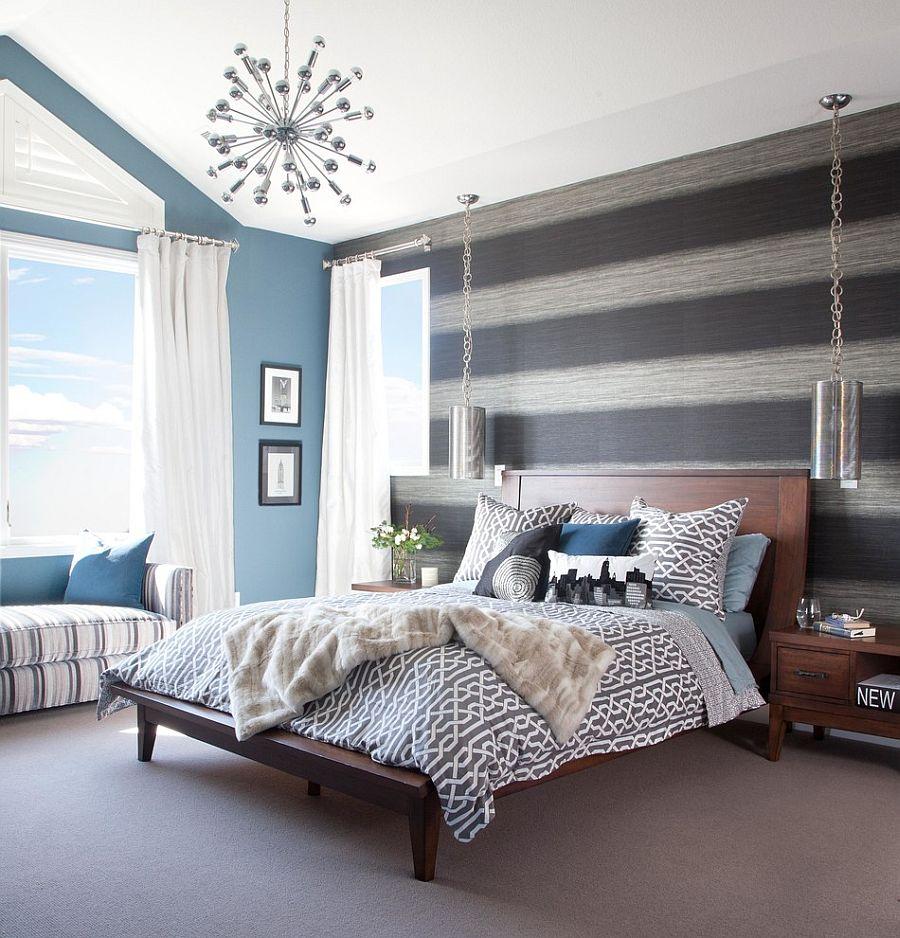 17 Μοντέρνα υπνοδωμάτια με Ριγέ τοίχους έμφασης