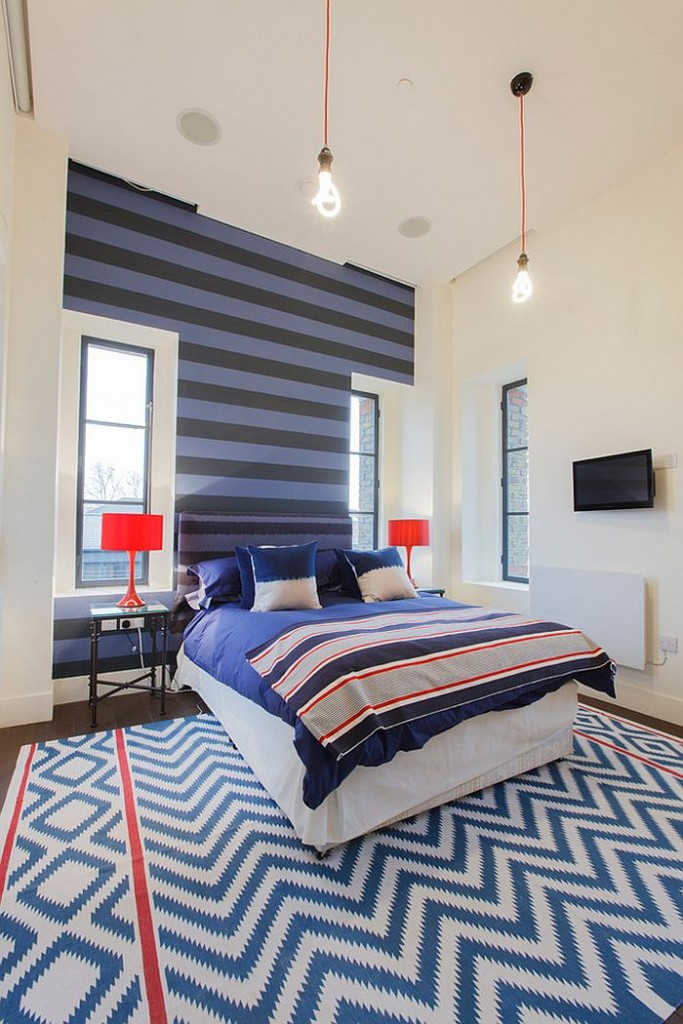 Μοντέρνα υπνοδωμάτια με Ριγέ τοίχους12
