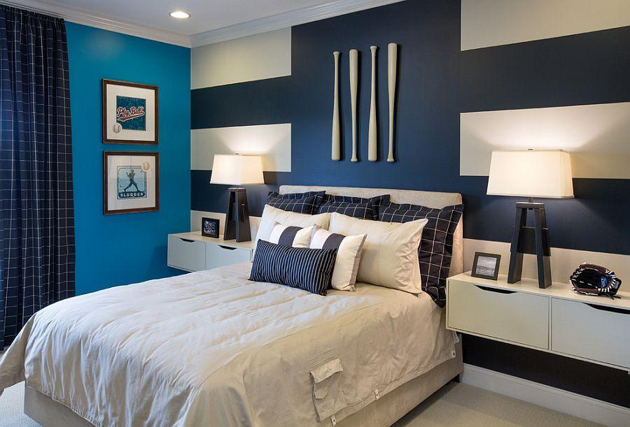 Μοντέρνα υπνοδωμάτια με Ριγέ τοίχους7