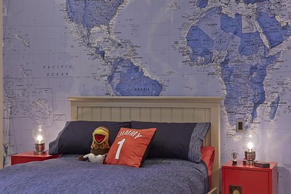 διακόσμηση παιδικόυ με τον παγκόσμιο χάρτη1