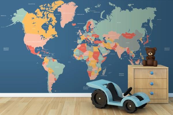 διακόσμηση παιδικόυ με τον παγκόσμιο χάρτη3