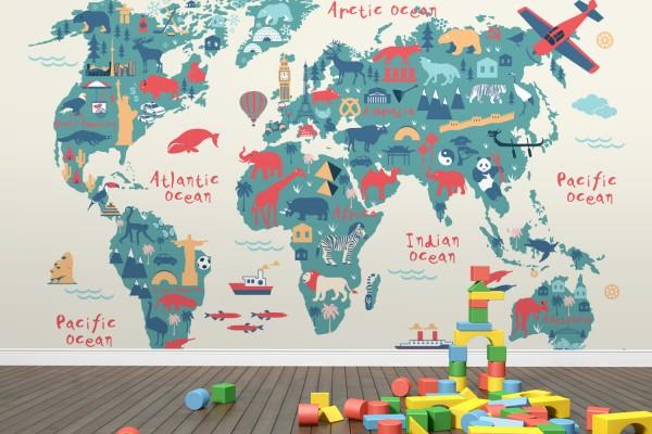 διακόσμηση παιδικόυ με τον παγκόσμιο χάρτη4