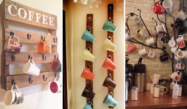 DIY ιδέες αποθήκευσης για τις κούπες του καφέ