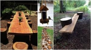 ιδέες για να διακοσμήσετε τον κήπο σας με κορμούς δέντρων ή κούτσουρα