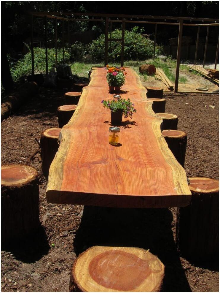 ιδέες για να διακοσμήσετε τον κήπο σας με κορμούς δέντρων ή κούτσουρα5