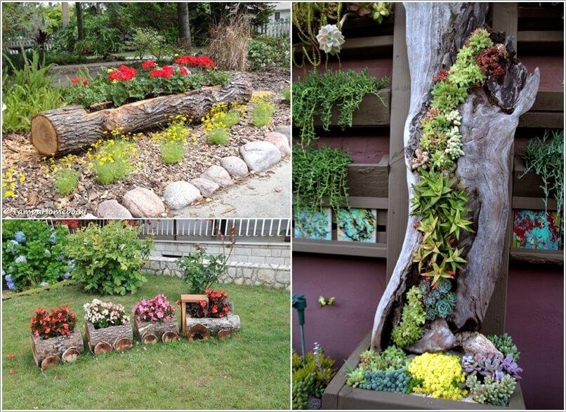 ιδέες για να διακοσμήσετε τον κήπο σας με κορμούς δέντρων ή κούτσουρα8