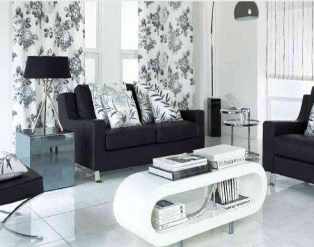 Ιδέες Σχεδιασμού  Σαλονιού  σε Άσπρο & Μαύρο13