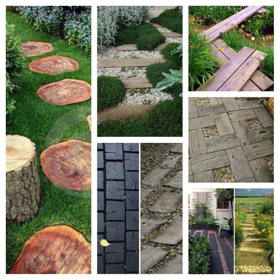 ιδέες με ξύλινα μονοπάτια κήπου