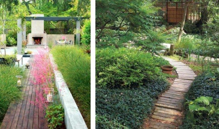 ιδέες με ξύλινα μονοπάτια κήπου1
