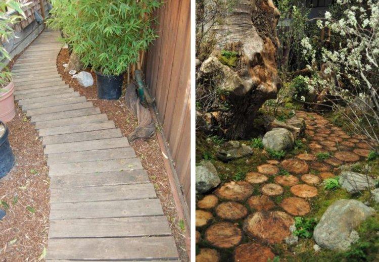 ιδέες με ξύλινα μονοπάτια κήπου2