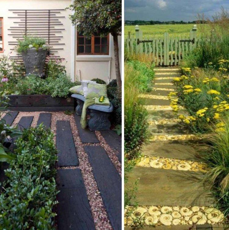 ιδέες με ξύλινα μονοπάτια κήπου3