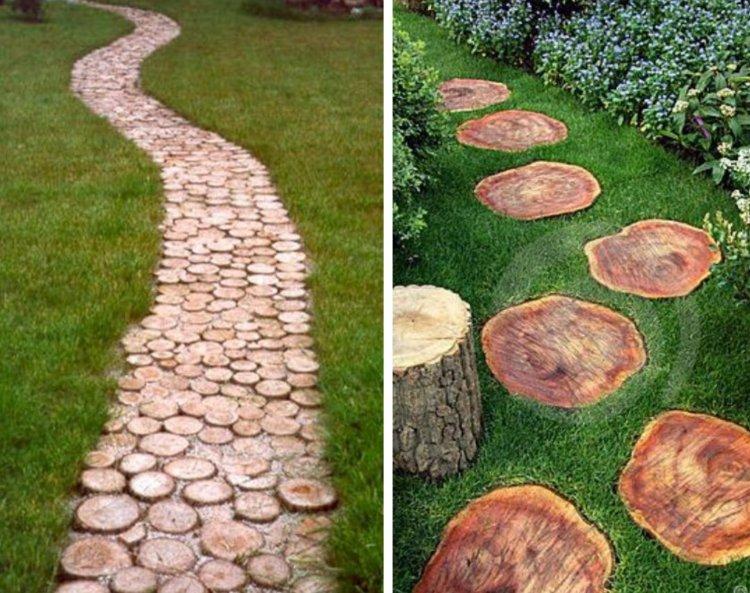 ιδέες με ξύλινα μονοπάτια κήπου4