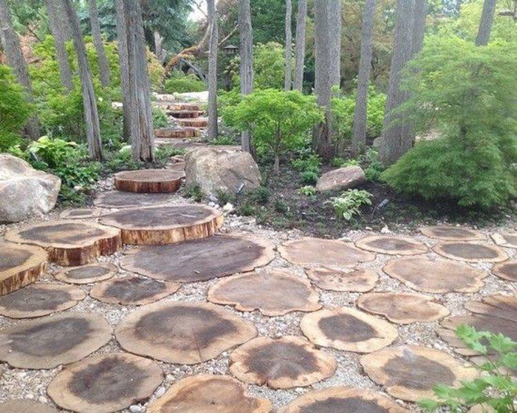 ιδέες με ξύλινα μονοπάτια κήπου5