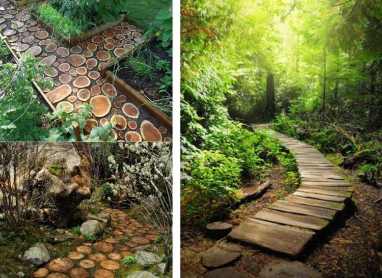 ιδέες με ξύλινα μονοπάτια κήπου6
