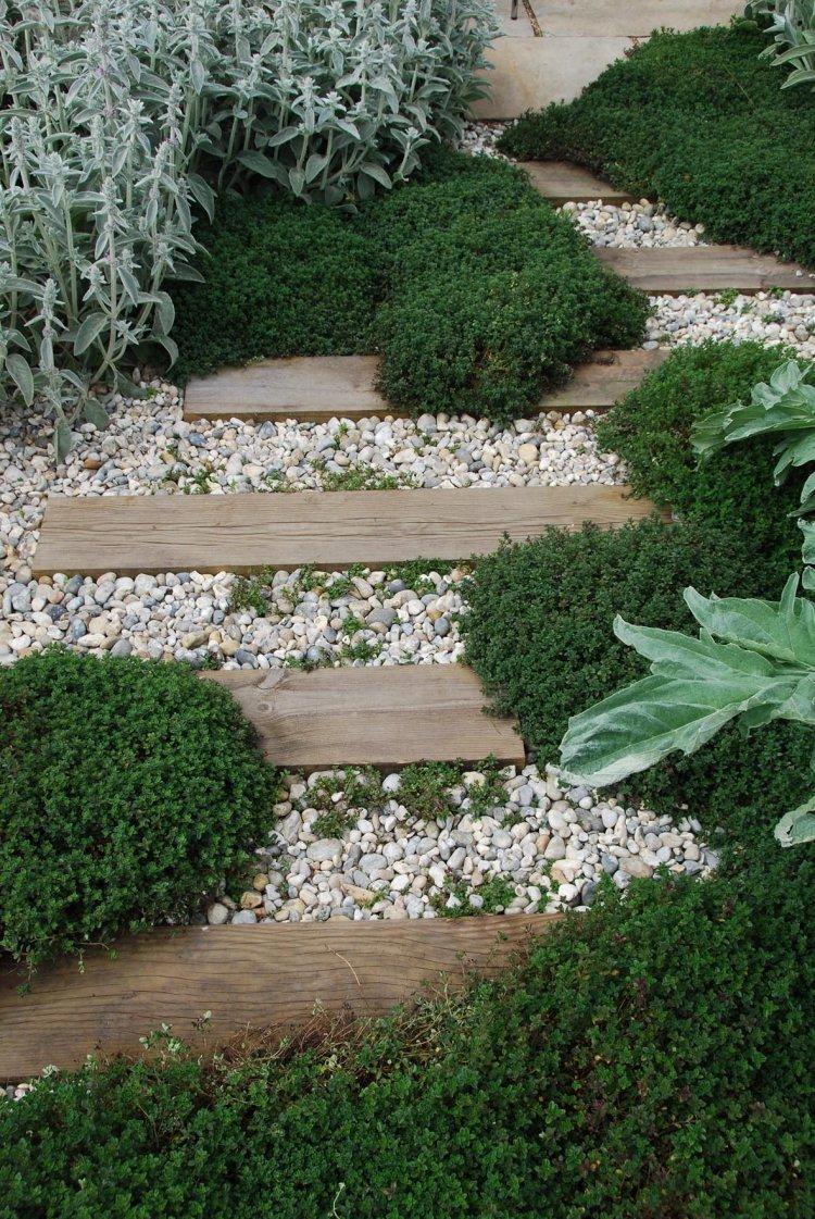 ιδέες με ξύλινα μονοπάτια κήπου8