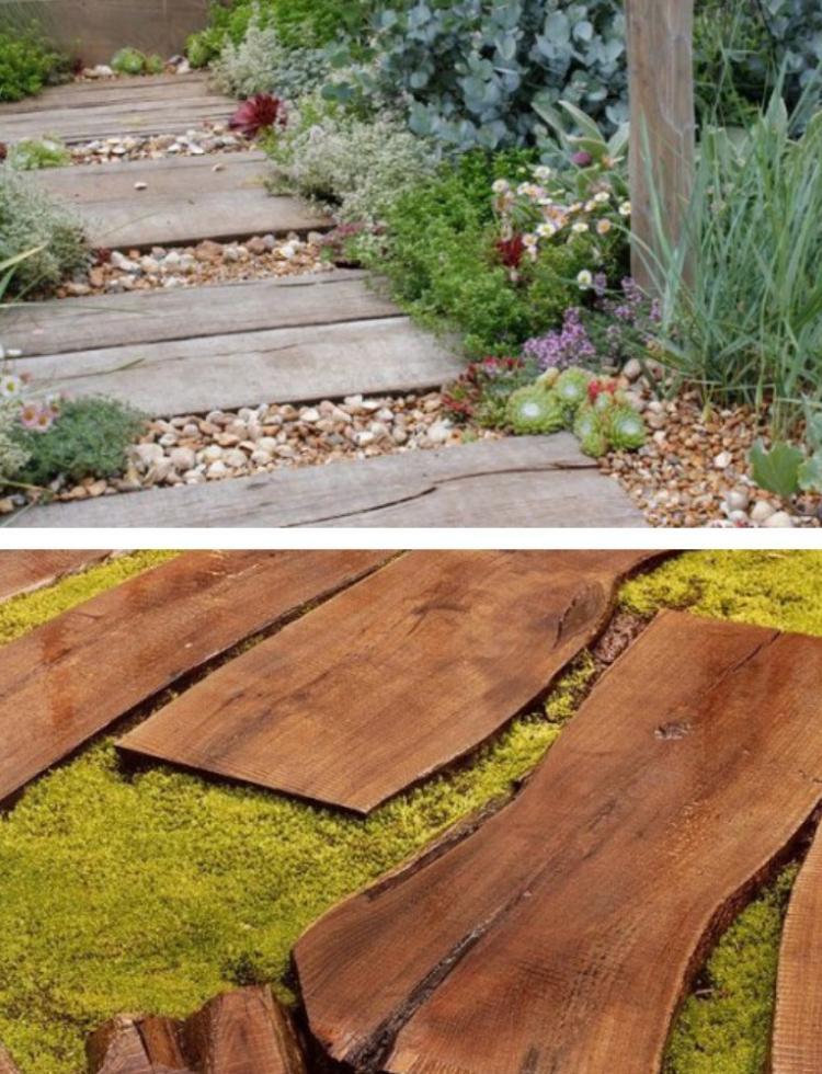 ιδέες με ξύλινα μονοπάτια κήπου9