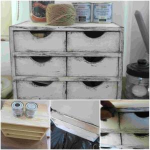 DIY Vintage συρτάρια με τεχνική πατίνας