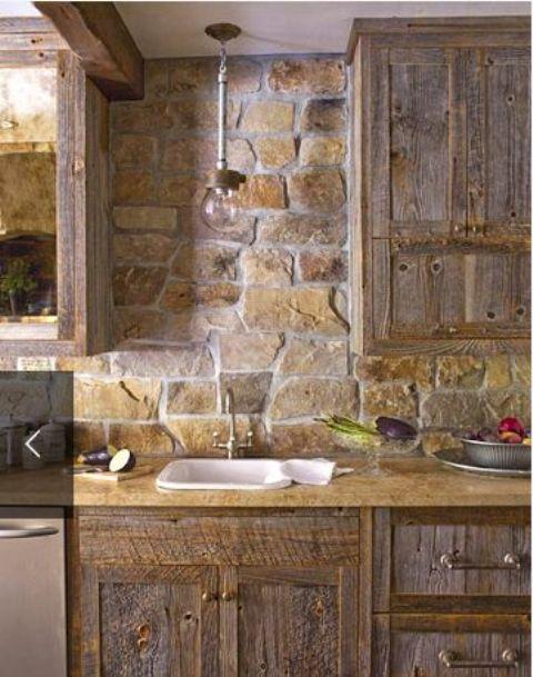 ιδέες με πέτρες, τούβλα και βότσαλα για τοίχους κουζίνας1