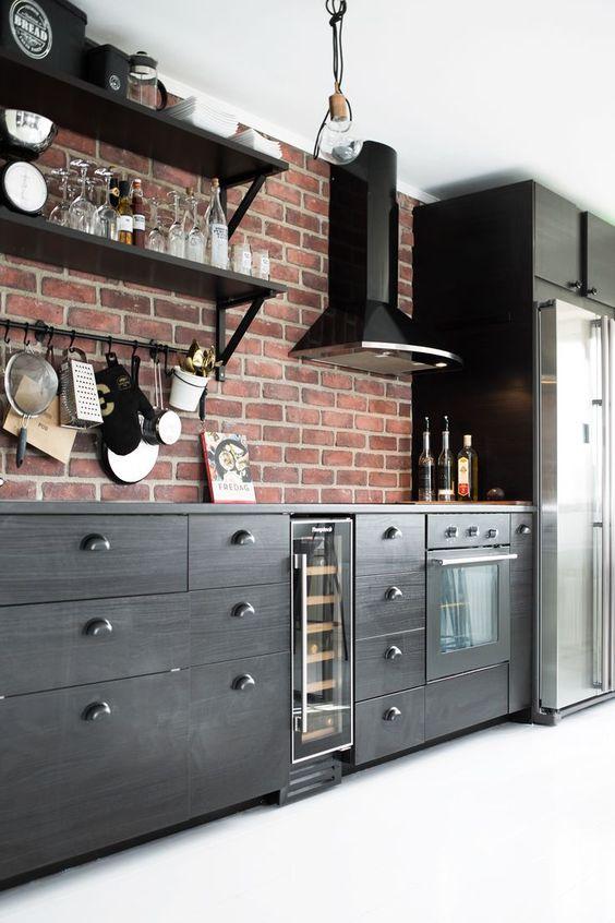 ιδέες με πέτρες, τούβλα και βότσαλα για τοίχους κουζίνας11