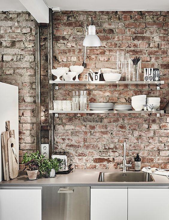 ιδέες με πέτρες, τούβλα και βότσαλα για τοίχους κουζίνας12