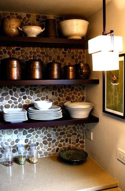 ιδέες με πέτρες, τούβλα και βότσαλα για τοίχους κουζίνας14