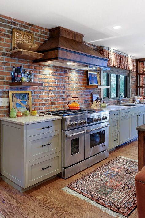 ιδέες με πέτρες, τούβλα και βότσαλα για τοίχους κουζίνας16