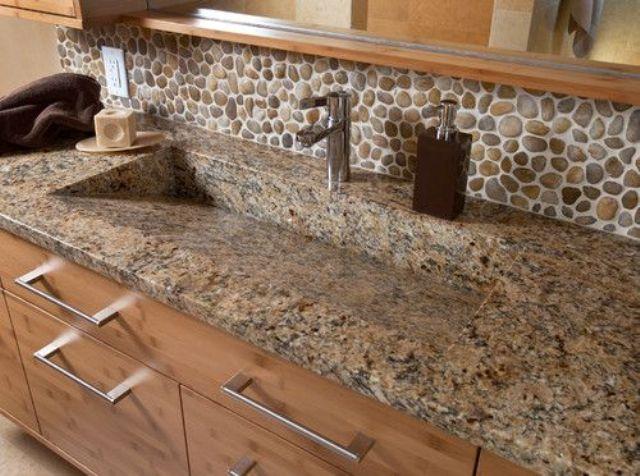 ιδέες με πέτρες, τούβλα και βότσαλα για τοίχους κουζίνας19