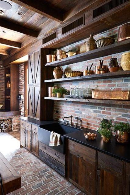 ιδέες με πέτρες, τούβλα και βότσαλα για τοίχους κουζίνας25