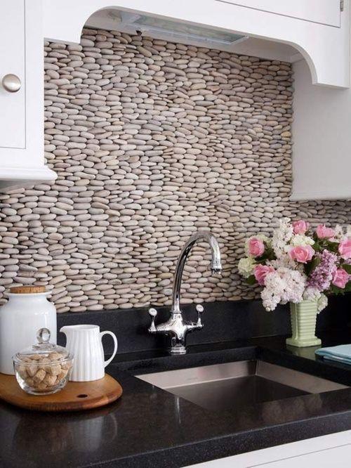 ιδέες με πέτρες, τούβλα και βότσαλα για τοίχους κουζίνας29